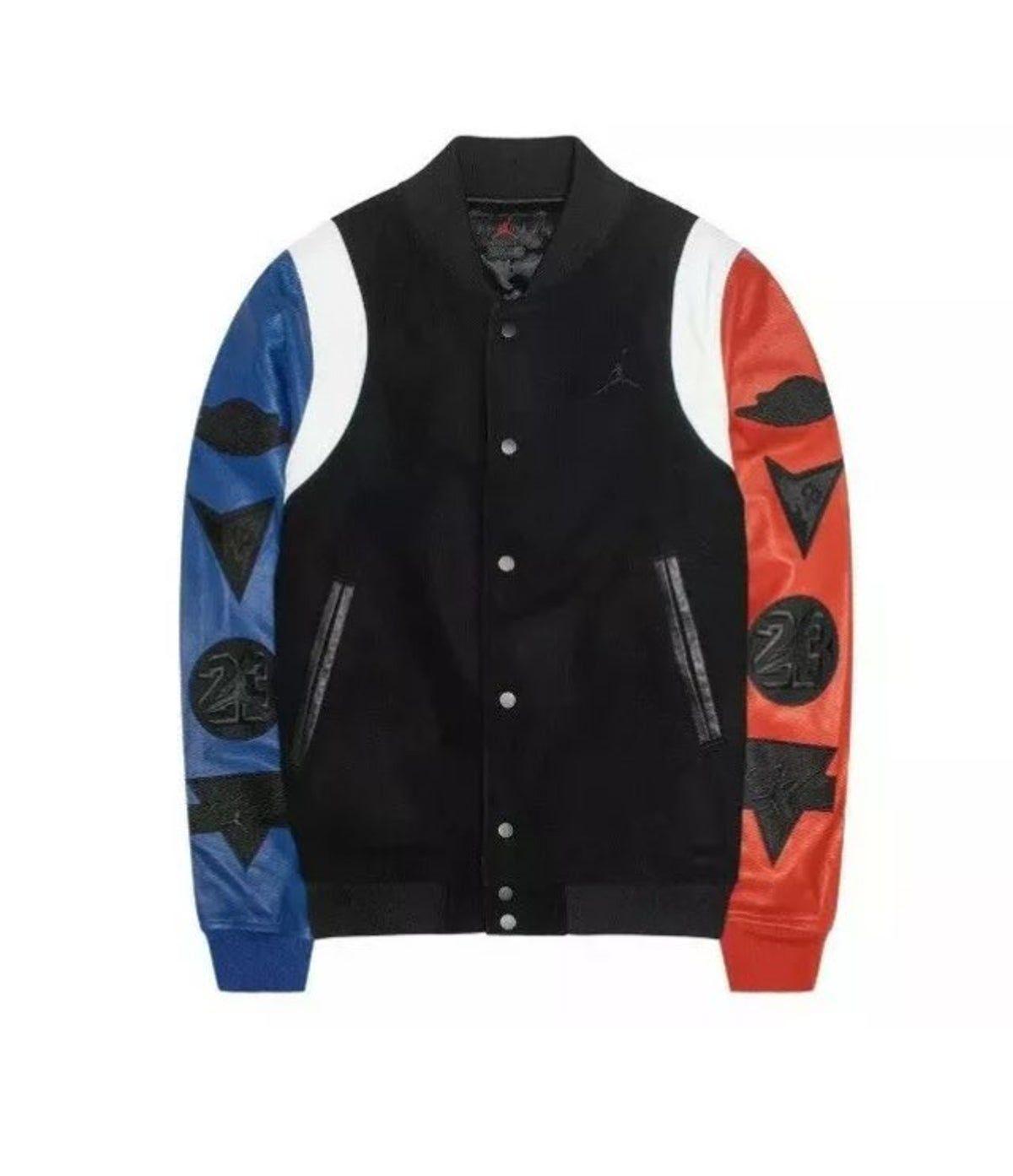 Nike Air Jordan Leather Varsity Jack Varsity Jacket Leather Bomber Mens Jackets [ 1393 x 1200 Pixel ]