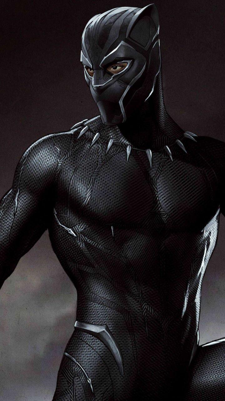 Art, black suit, black panther, superhero, 720x1280 ...