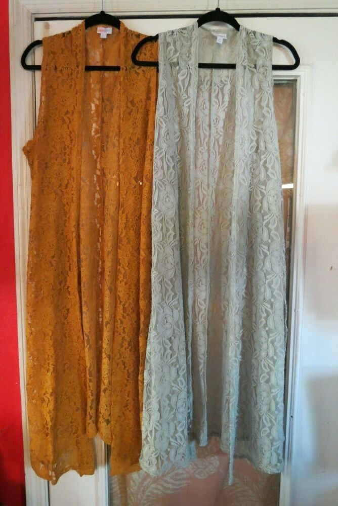 LULAROE Two Lace Duster s XL Long Open Front Sleeveless Split Side Gold and Gray