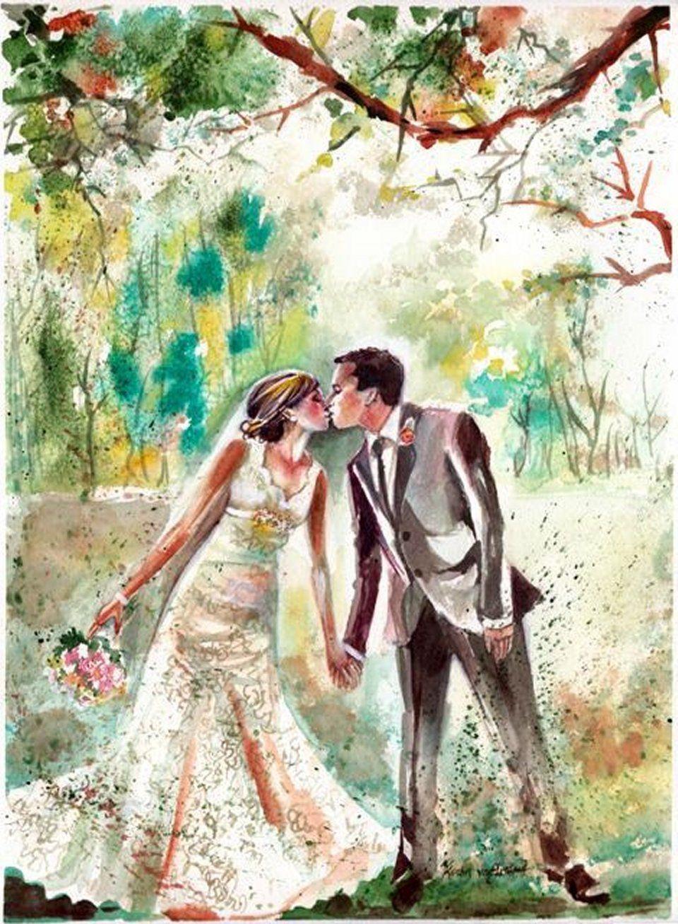 жених и невеста картинки акварелью подготовительном