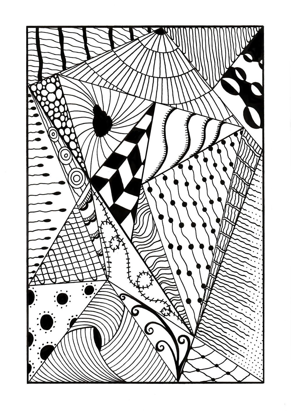 Trippy zentangle triangles adult coloring page free adult coloring