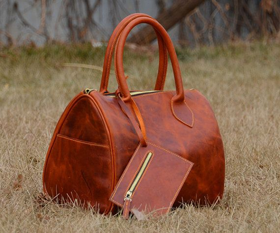 Handstitched Reddish Brown Cow Leather Handbag Simple by annebaby, $219.00