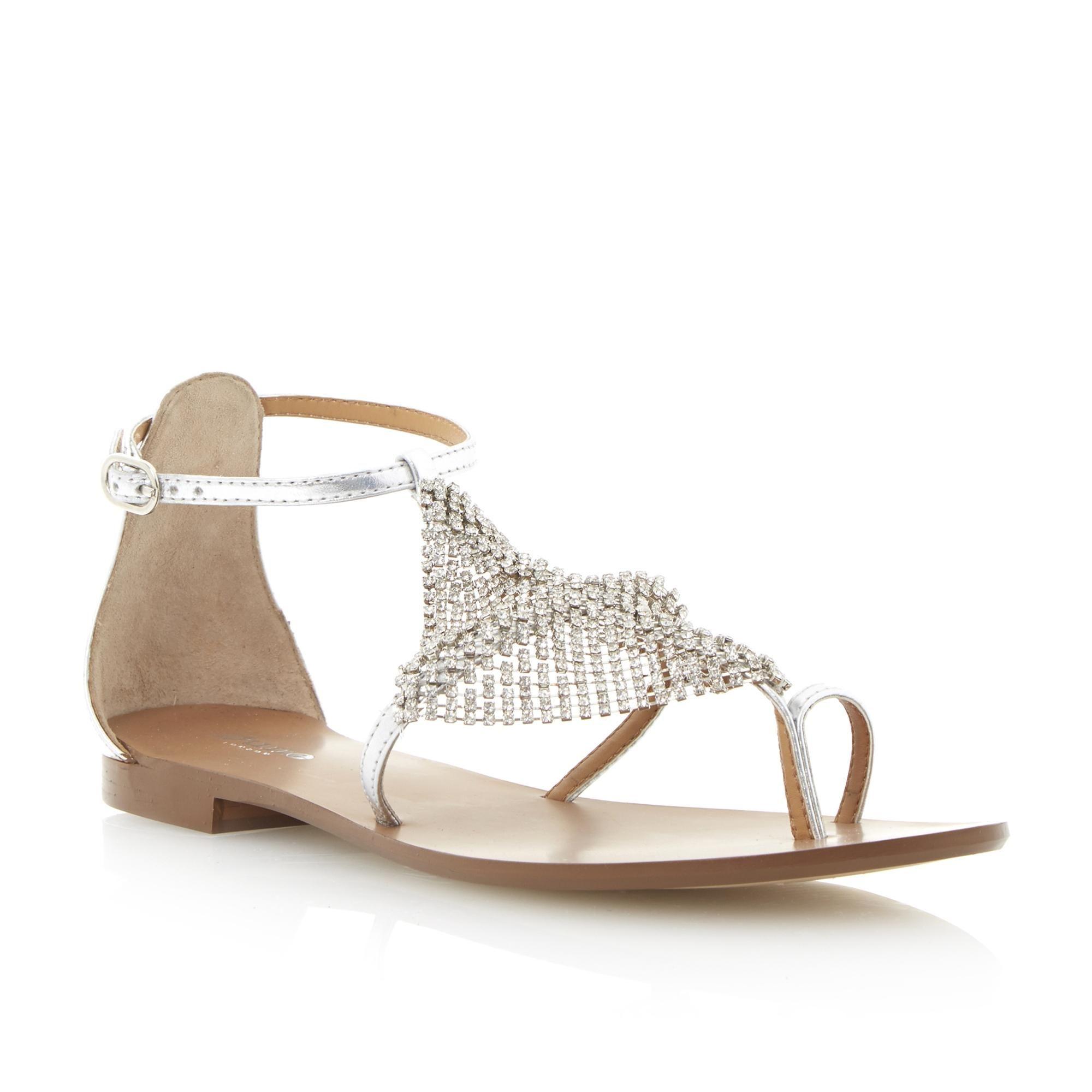9b5d48c4b96 DUNE LADIES KARI - Diamante Toe Ring Sandal - silver