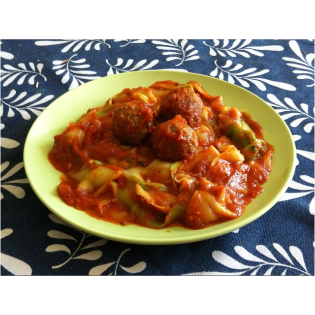 So tasty!!! Spaghetti and meatballs with the noodles made from zucchini sliced with a veggie peeler!