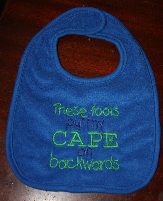These fools put my CAPE on backwards bib in royal by KenaKreations, $7.00