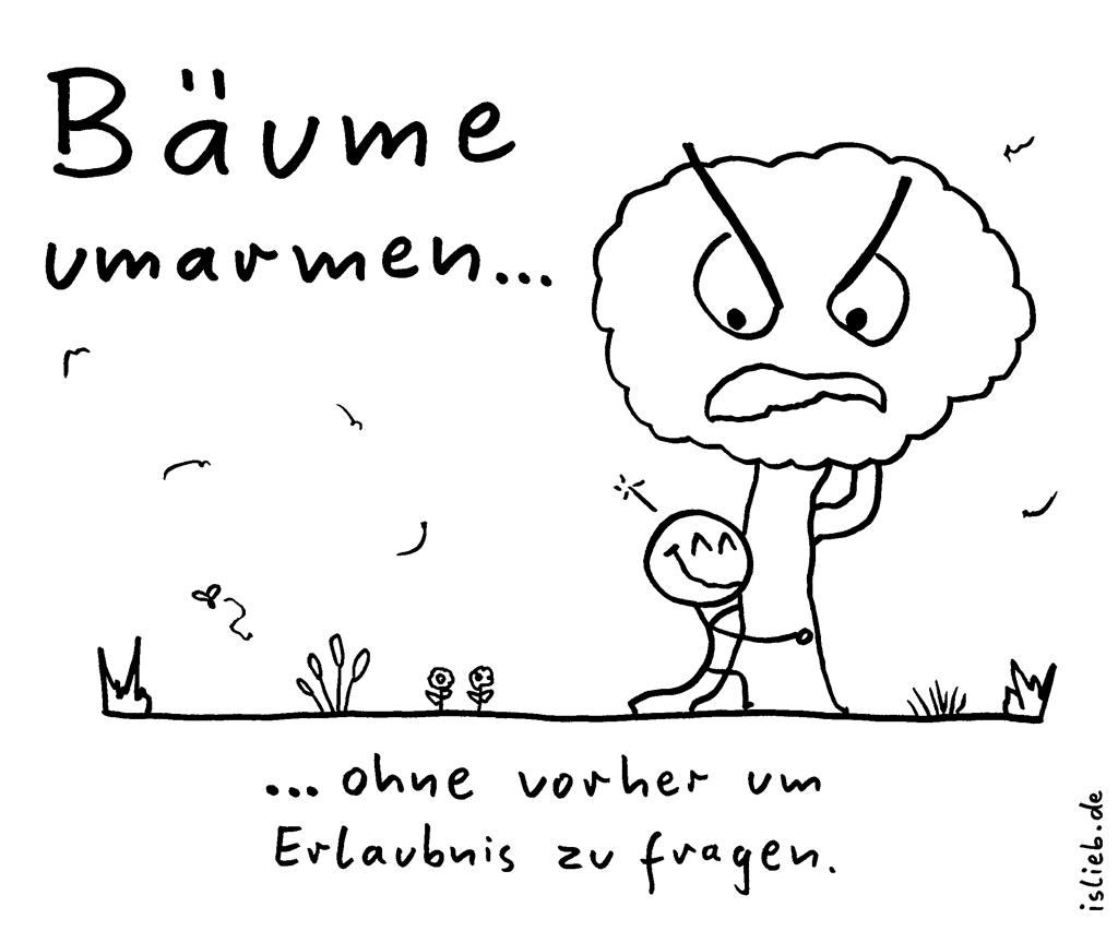 B ume umarmen strichm nnchen comics - Baum comic bilder ...