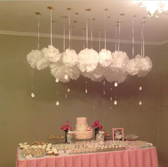 Decoração Com Pompons De Papel Cloud Party And Diys