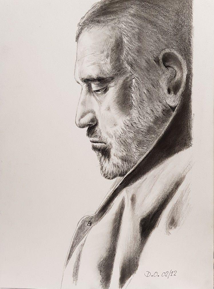 Jean Yanne portrait remasterisé Drawing, Dessin, Fusain