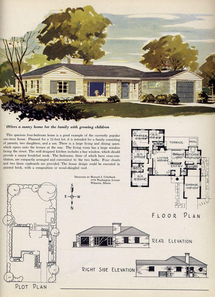 mid century retro house and floorplan retro life pinterest mid
