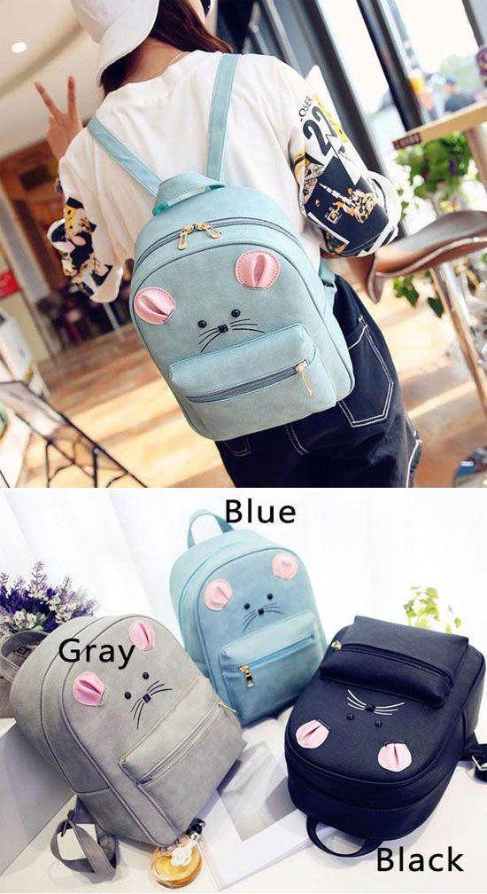 Which color do you like? Cartoon Rucksack PU Schoolbag Animal Backpack Gift Clutch #cartoon #backpack #School #rucksack #bag #cat #kitty