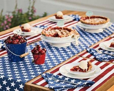 4th of July summer holiday table decorations stars and stripes table setting
