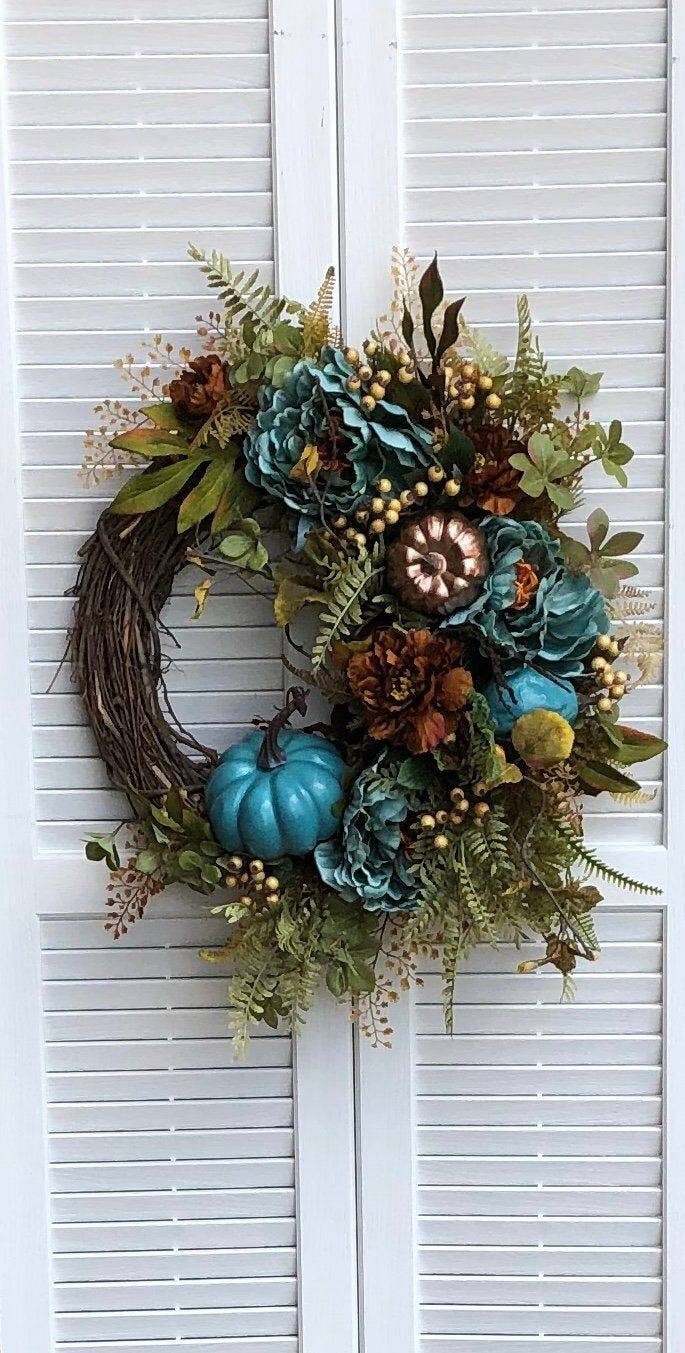 Photo of Fall Peony Wreath for the Front Door / Fall Berry Wreath for Fall / Fall Teal Flower Wreath / Teal Pumpkin Wreath for the Front Door