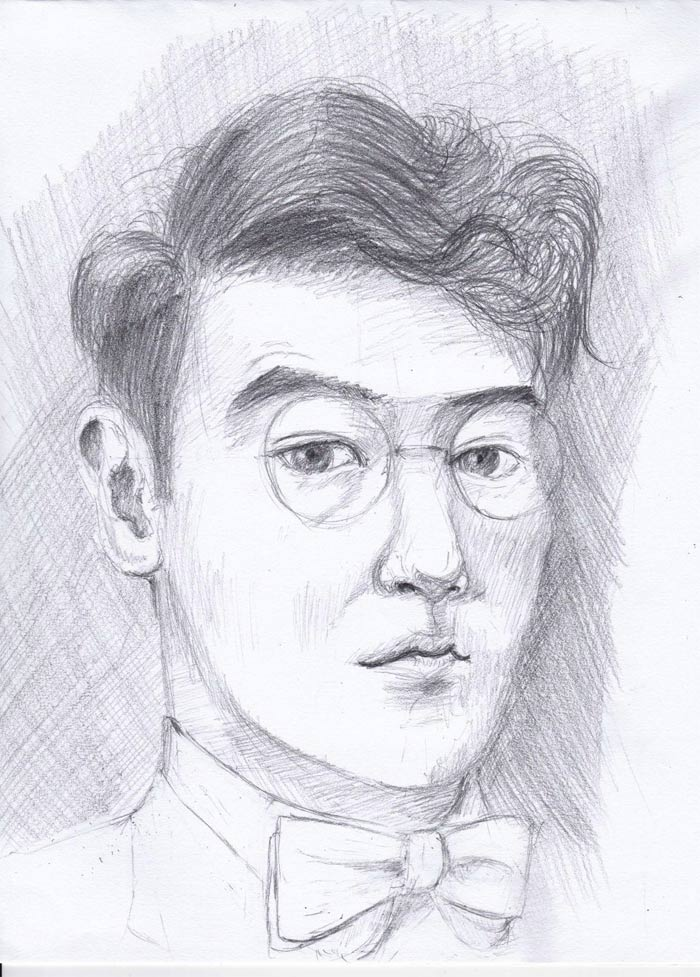 Self Portrait By Edward Pan Hi This Is One Of My Self Portraits I Would Like To Know What I Can Do To Improve Background Drawing Portrait Drawing Drawings