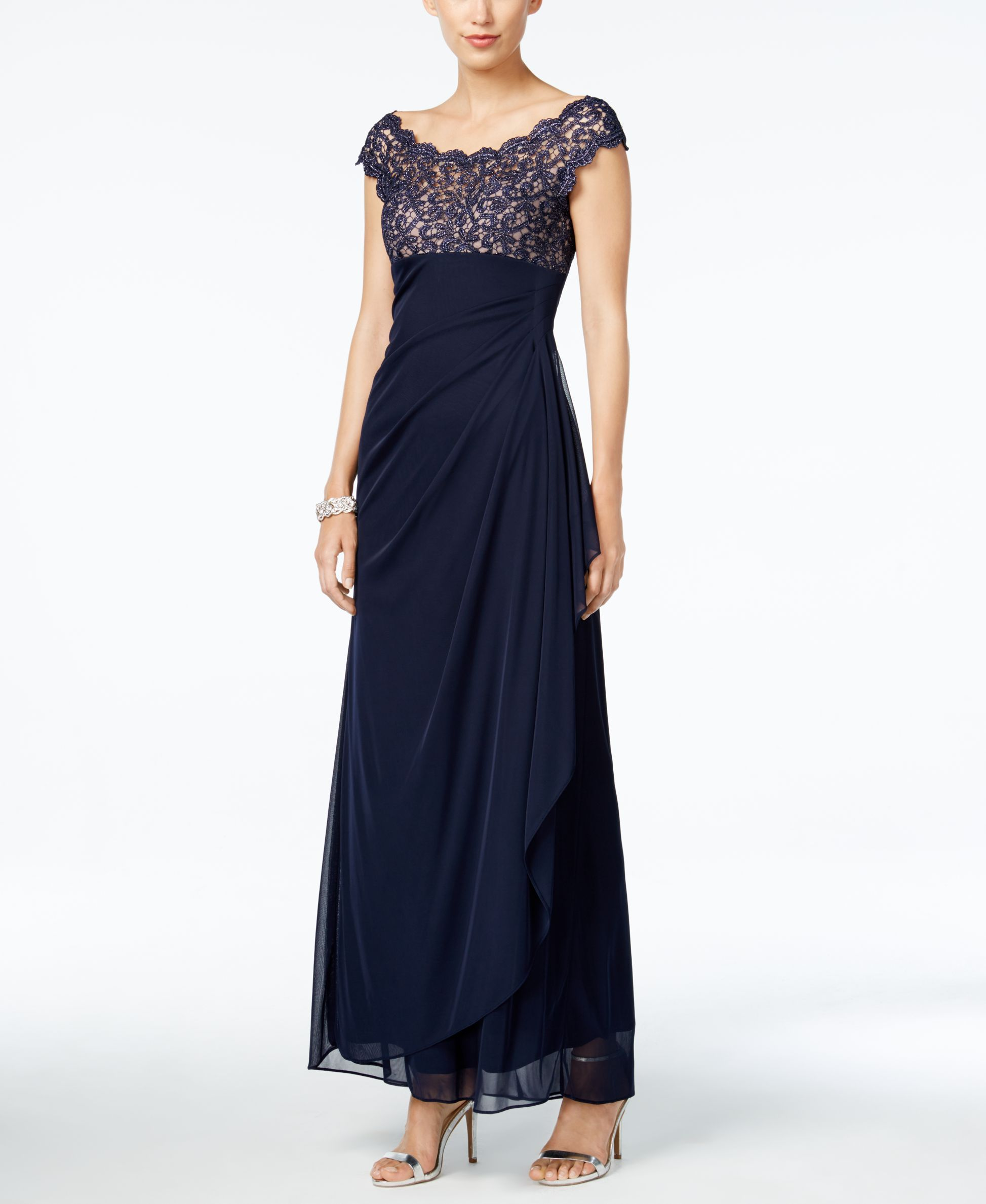 Xscape Petite Lace Illusion Faux-Wrap Gown - Dresses - Women