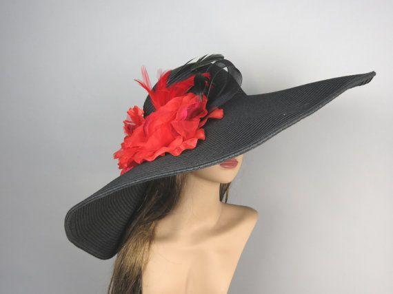 Over size Black Church Wedding Hat Kentucky Derby Hat Black Bridal Coctail Hat Couture Fascinator Bridal Hat