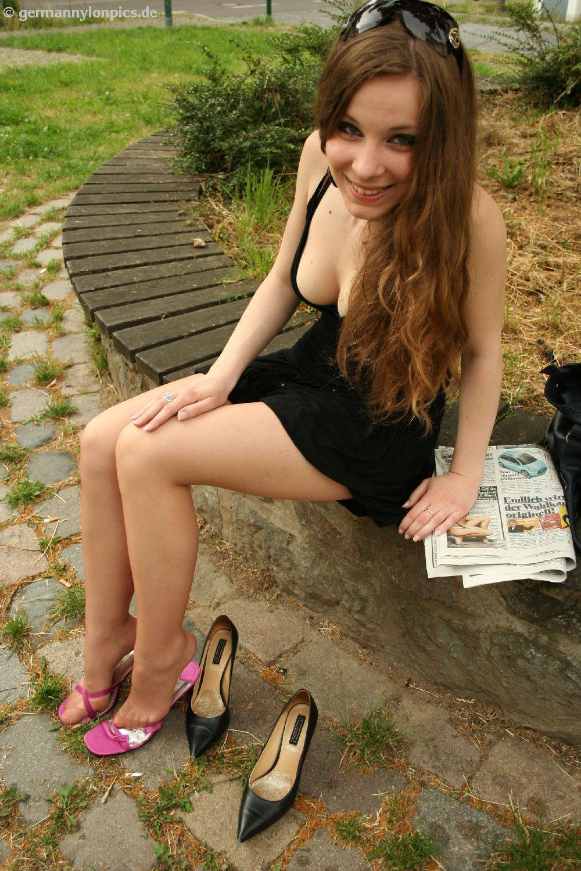 Brunette teen making selfshots