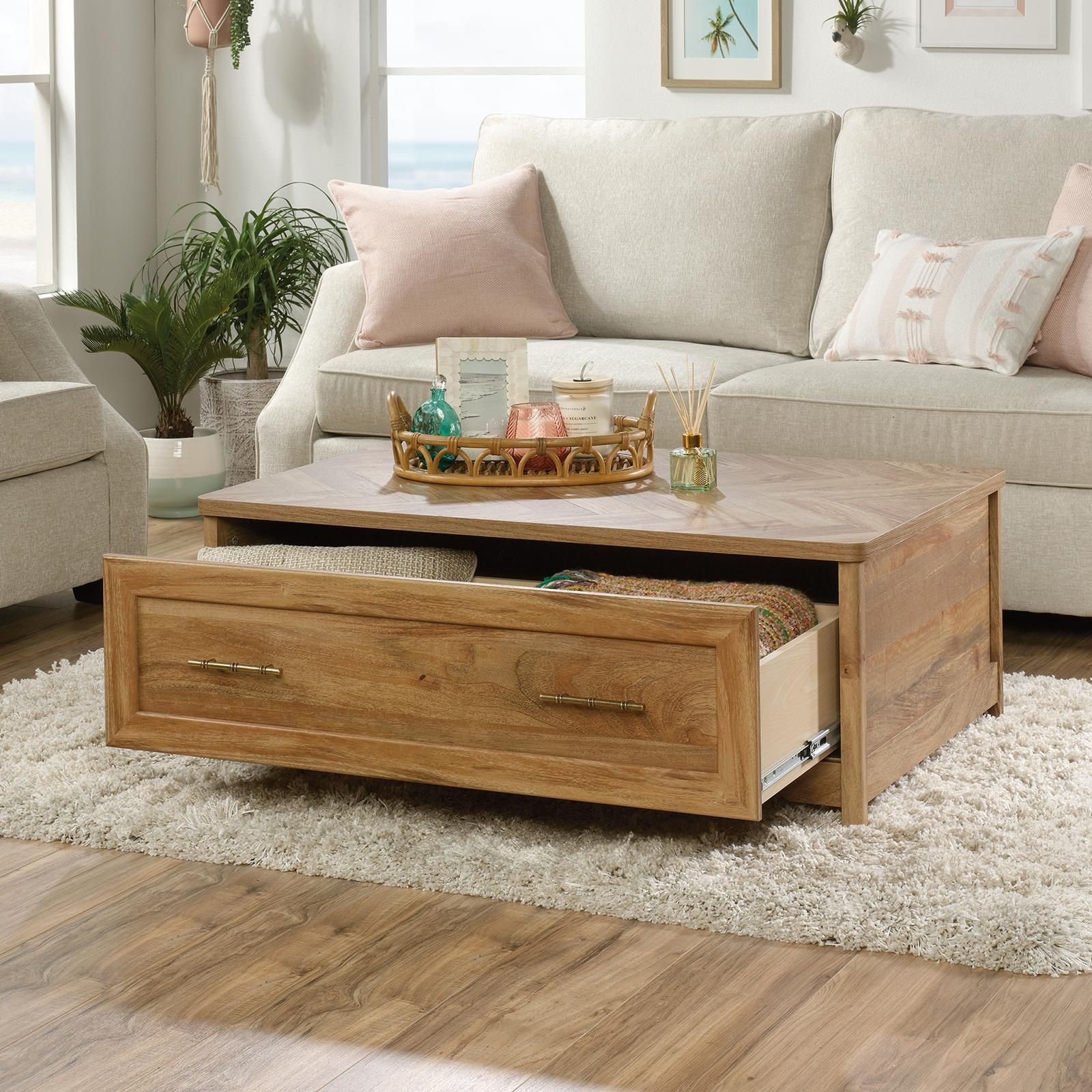 Sauder Coral Cape Coffee Table In 2021 Coffee Table Coffee Table With Drawers Decorating Coffee Tables [ 1600 x 1600 Pixel ]
