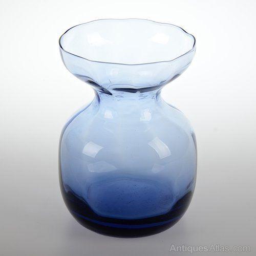 Retro Holmegaard glass Hyacinth vase in Sapphire blue designed by Jacob Bang c1938-41. Excellent Condition. H. 12.25cm. Dia 8.5cm. Rim. Dia 7cm. Base.