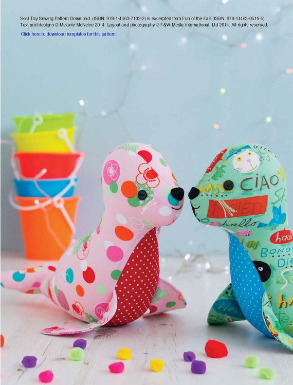 Seal Toy Sewing Pattern Download 803739 | Für Kinder | Pinterest ...