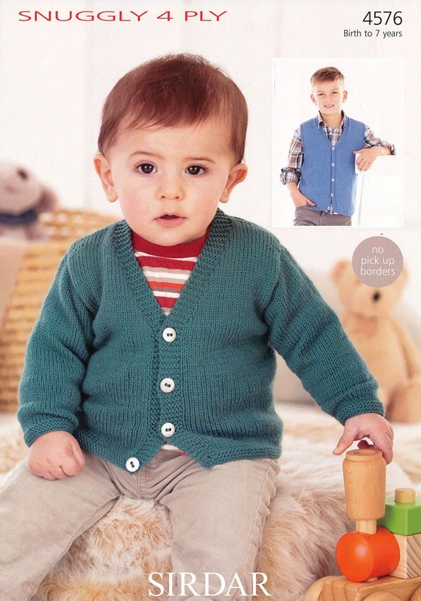 Boys V Neck Cardigan And Waistcoat In Sirdar Snuggly 4 Ply 4576