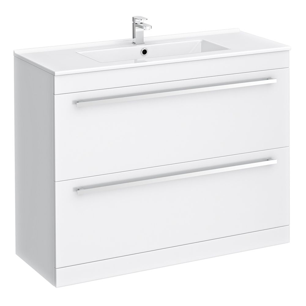 Nova High Gloss White Floor Standing Basin Unit W1000 x ...