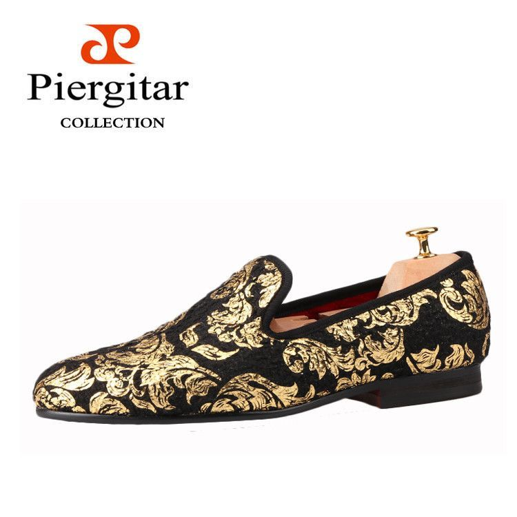 Piergitar New High-end Gold printing Men Shoes Luxury Fashion Men Loafers  Men s Flats Size US 6-14 Free shipping b63a5d728b22