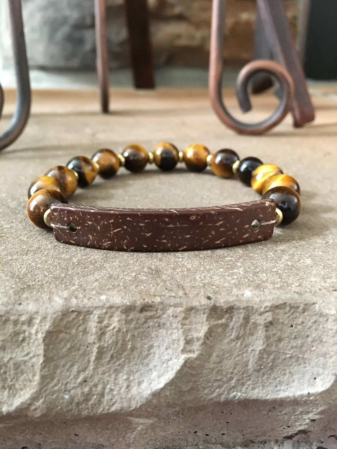 Menus bracelet tigerus eye stretch brown wood focal