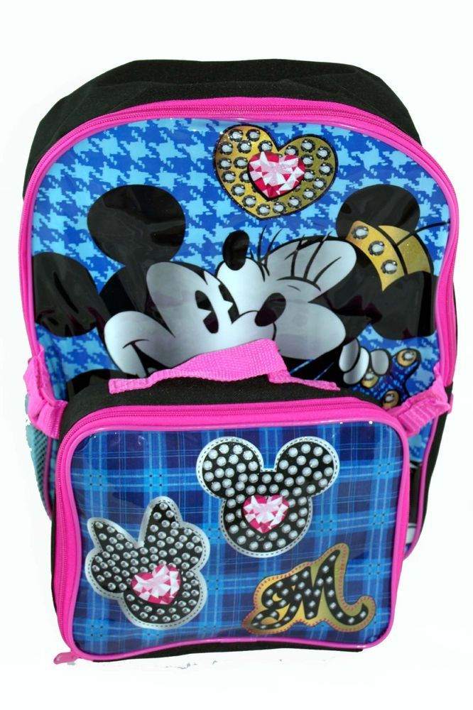 afa4aa862fb7 Disney Mickey Minnie Mouse KISS Backpack Bag and Lunchbox Lunch Bag Tote SET  2pc  Disney  LunchBag