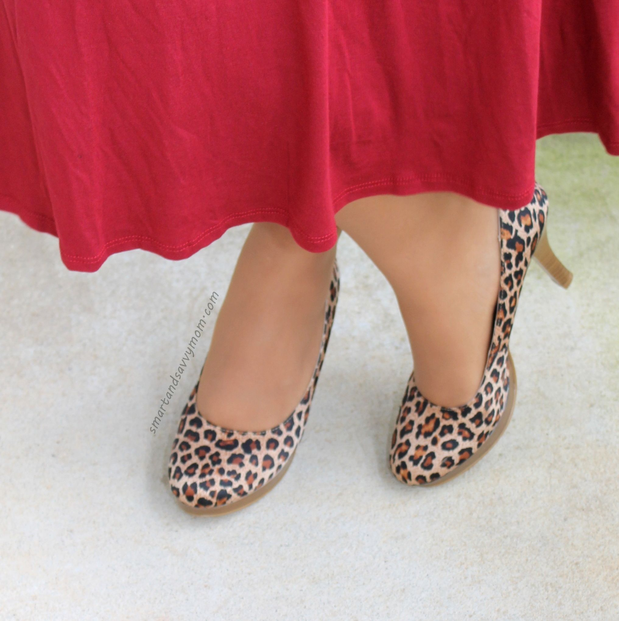 burgundy dress with leopard shoes