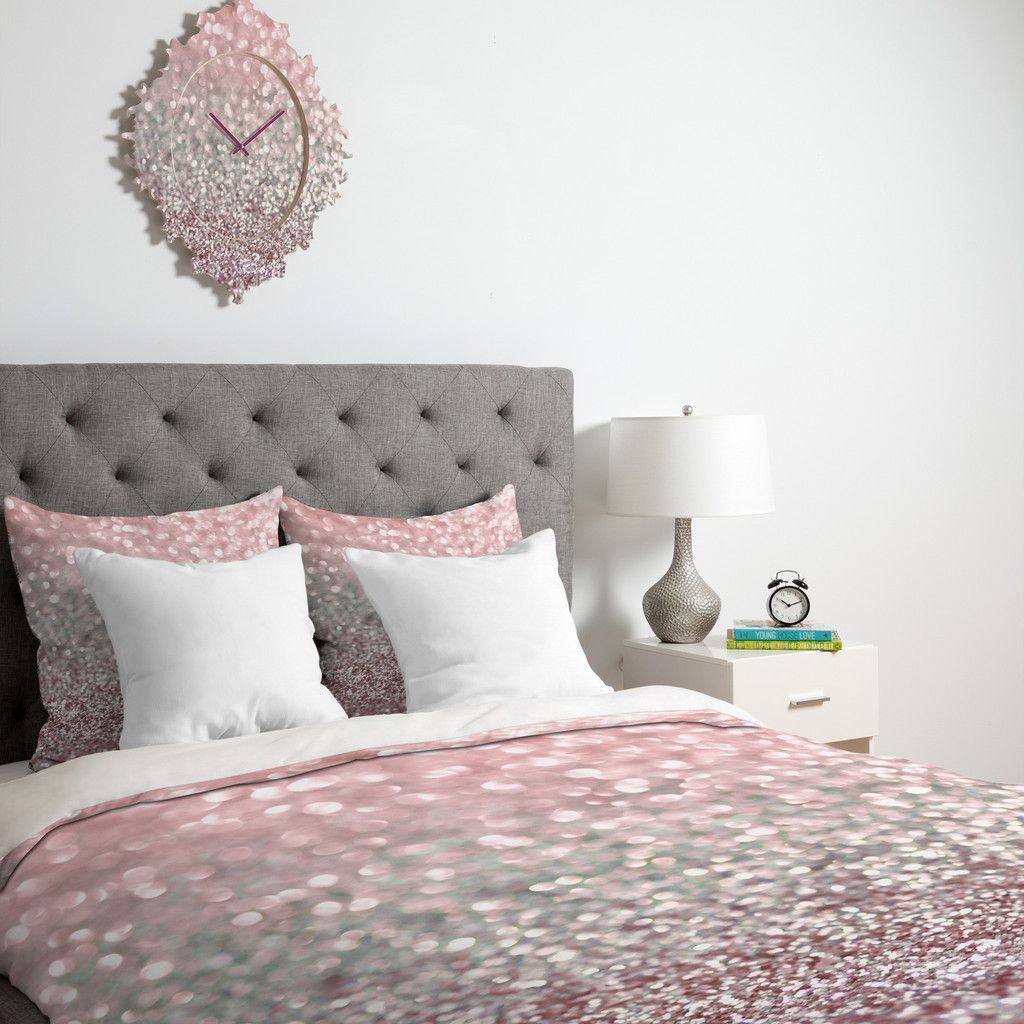 Lisa Argyropoulos Girly Pink Snowfall Duvet Cover Deny Designs Home Accessories Sparkle Glitter