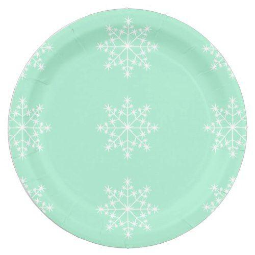Snowflake Christmas Design Light Mint Xmas Holiday Paper Plate  sc 1 st  Pinterest & Snowflake Christmas Design Light Mint Xmas Holiday Paper Plate ...