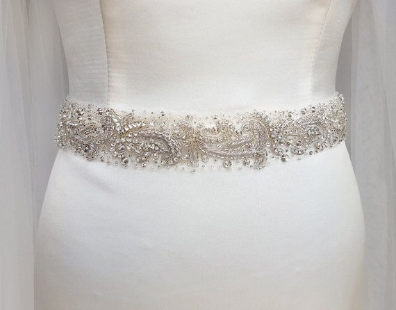 Silver Wedding Belt Bridal Sash Dress Beaded Embellishment