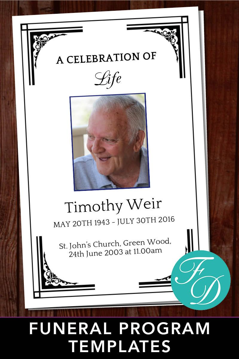 Funeral Program Template For Man Celebration Of Life Program