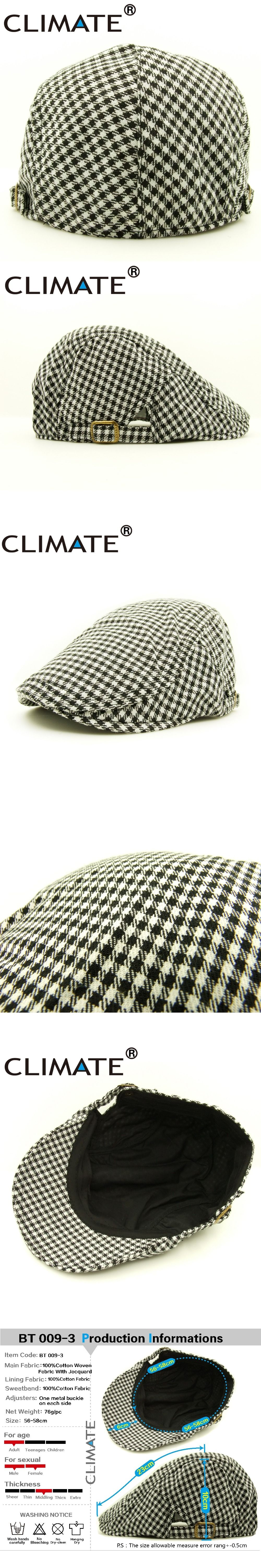 563d0cdb500d8 CLIMATE Men Women Cotton Woven Checked Plaid Black White Berets Caps Flat  Hat Houndstooth for adult unisex adjustable