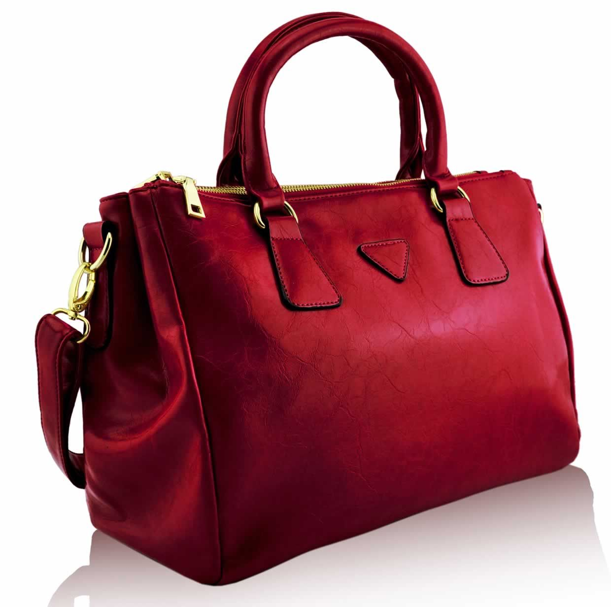 leather handbags | Ladies Designer Red Smooth Leather Style Womens ...
