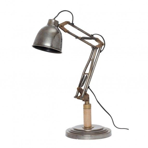 Industriële tafellamp - 53 cm hoog Hübsch, € 199,-  Deze bureaulamp is door de matgrijze kleur en de koperkleurige en lederen details een echte blikvanger. De hoogte en richting van het licht stel je op verschillende punten van de lamp eenvoudig in.