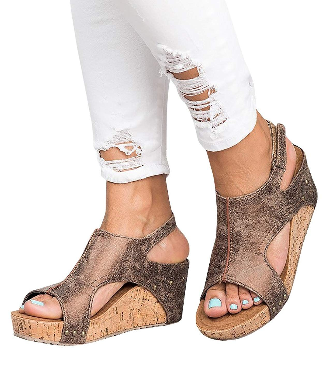 f94f220f3f Pxmoda Women's Peep Toe Ankle Buckle Gladiator Wedges Sandals Summer Platform  Sandals. Pxmoda Women's Peep Toe Ankle Buckle Gladiator Wedges Sandals  Summer ...
