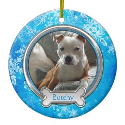 Blue with Silver Snowflakes Pet Photo Christmas Ornament
