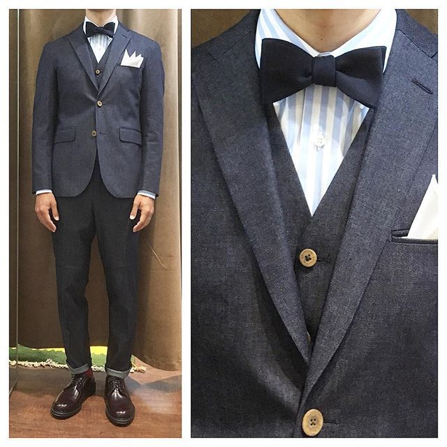 denim suit\u0026stripe shirt. デニムスリーピースにストライプ