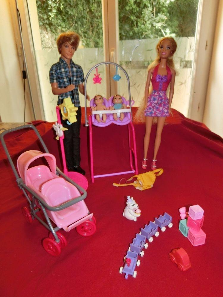 100% authentic classic style size 40 Mattel Barbie Ken maman et papa avec Jumeaux poussette ...