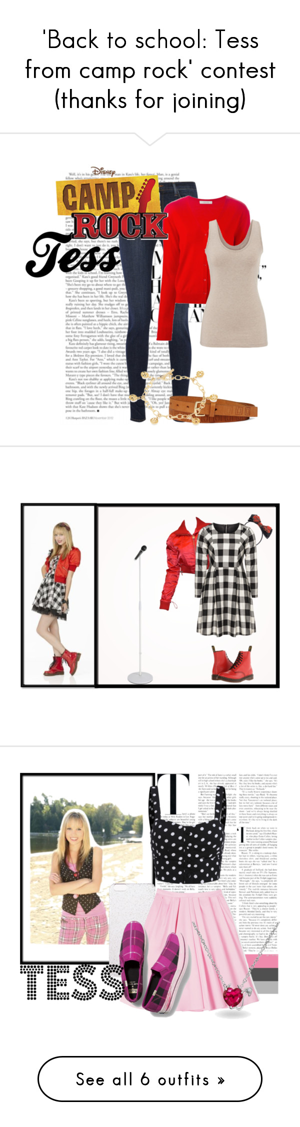 """""""'Back to school: Tess from camp rock' contest (thanks for joining)"""" by sarah-m-smith ❤ liked on Polyvore featuring J Brand, Dorothee Schumacher, maurices, Liz Claiborne, DeLatori, Camp, Chanel, Manon Baptiste, Dr. Martens and contest"""