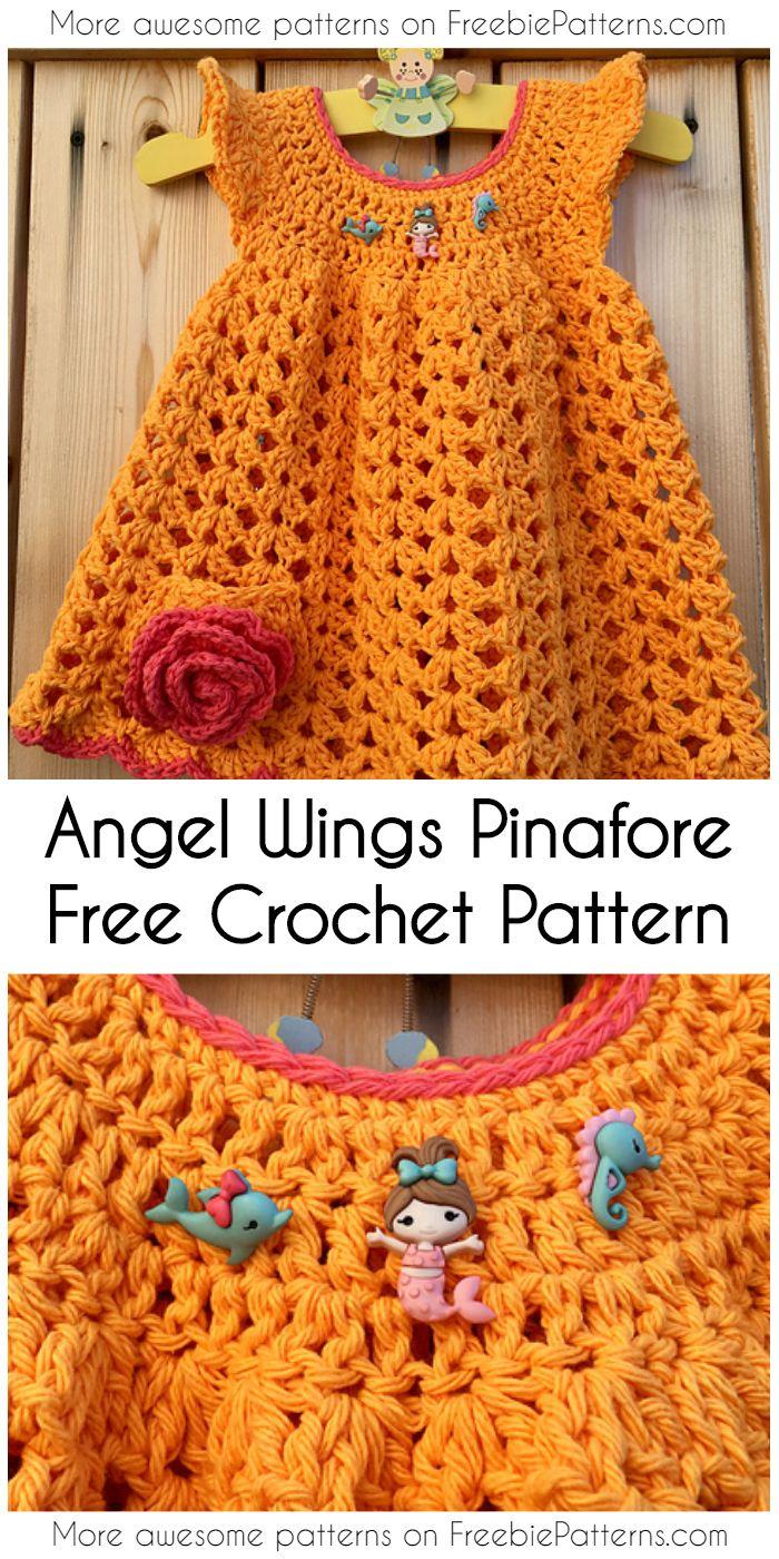 Cute Angel Wings Pinafore Little Dress Ideas And Free Crochet ...