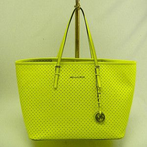 Michael Kors Auth MK Neon Yellow Perforated Travel Tote Handbag ...