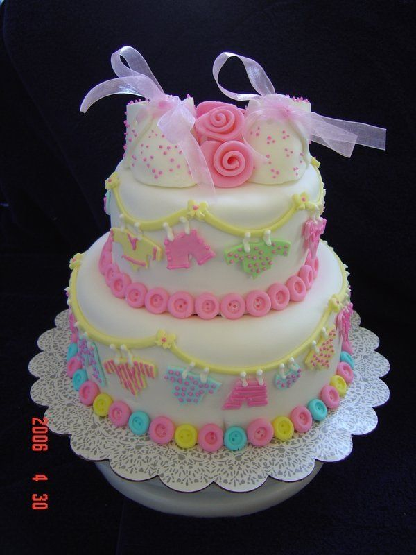 Wilton Baby Shower Cakes Part - 47: Baby Shower Cake Loved This In The Wilton Book, My Boss U0026 His Wife Adopted  A Beautiful Baby Girl, I Had Been Making Buttons In.