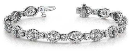 14k White & Yellow Gold, Almond Link Diamond Bracelet, 6.89 ct. (Color: HI, Clarity: SI2)