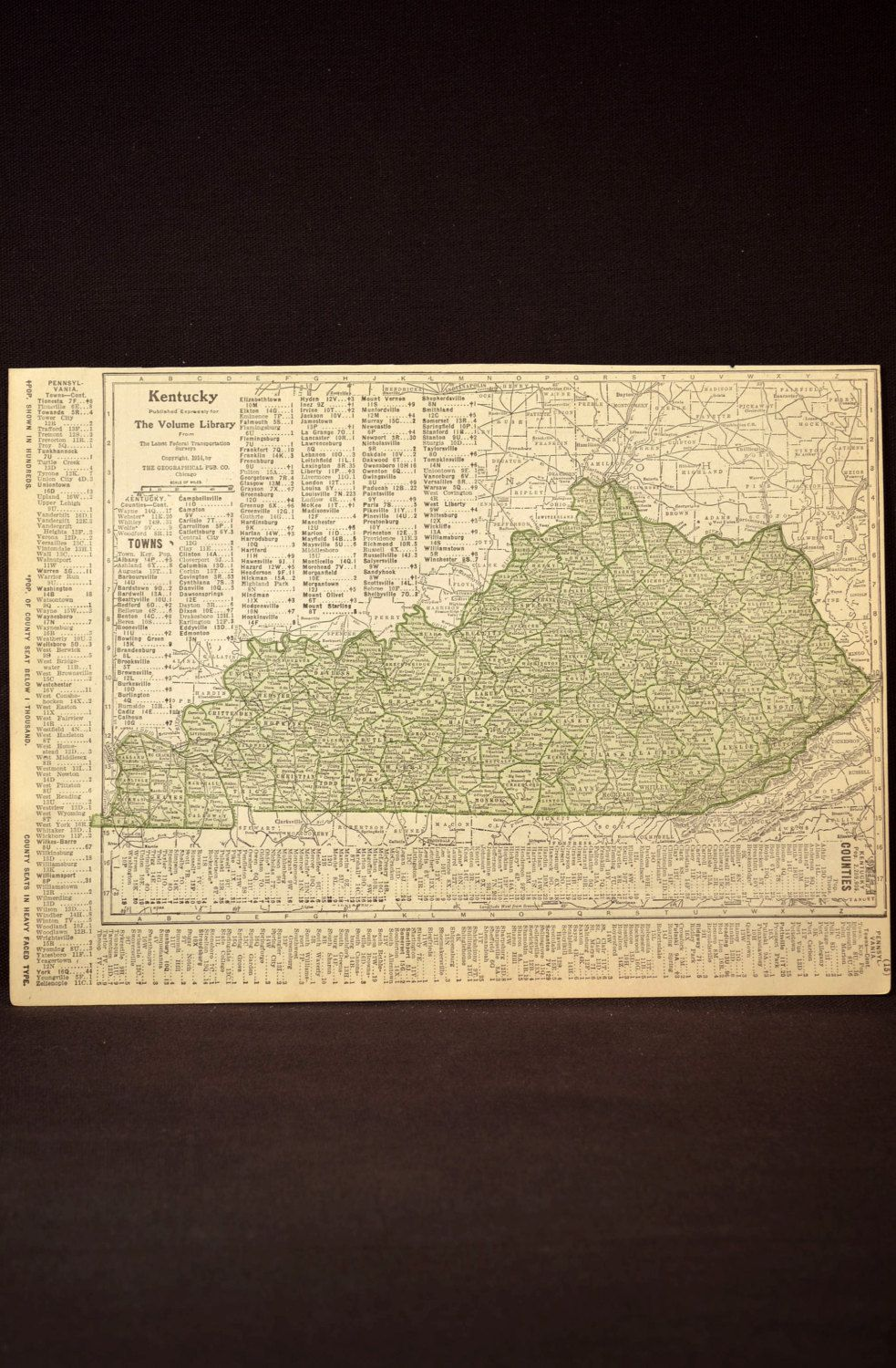 Kentucky Map Kentucky Antique Original Green 1914 Wall Decor by ...