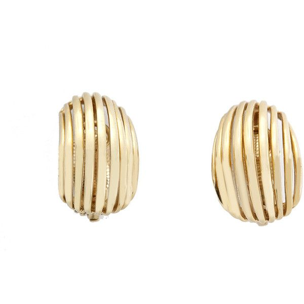 Pre-Owned Tiffany & Co. 14k Yellow Gold Open Curve Form Earclips (8,910 MYR) ❤ liked on Polyvore featuring jewelry, yellow gold, multicolor jewelry, tri color gold jewelry, tiffany & co jewelry, multi color jewelry and multi colored jewelry