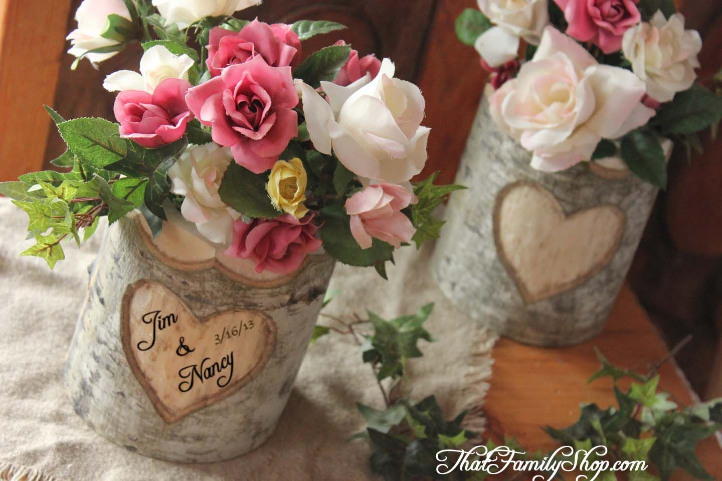 Log flower vase with heart personalization by thatfamilyshop log flower vase with heart personalization by thatfamilyshop reviewsmspy