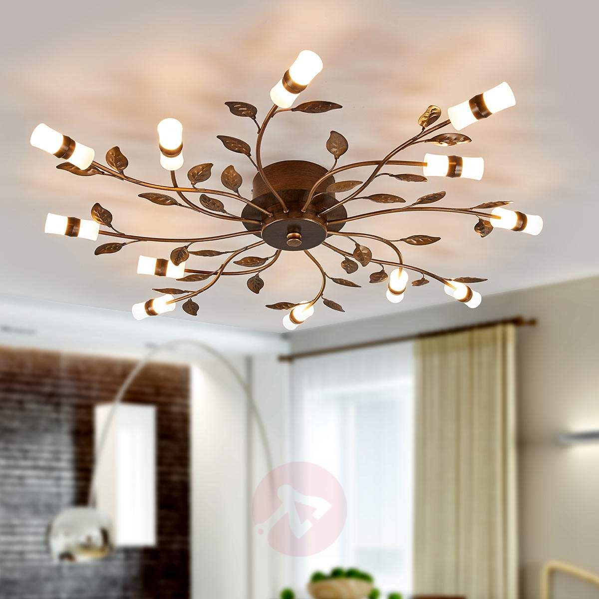 Lampa Sufitowa Led Milian Z Dekorem W Formie Liści Lampy