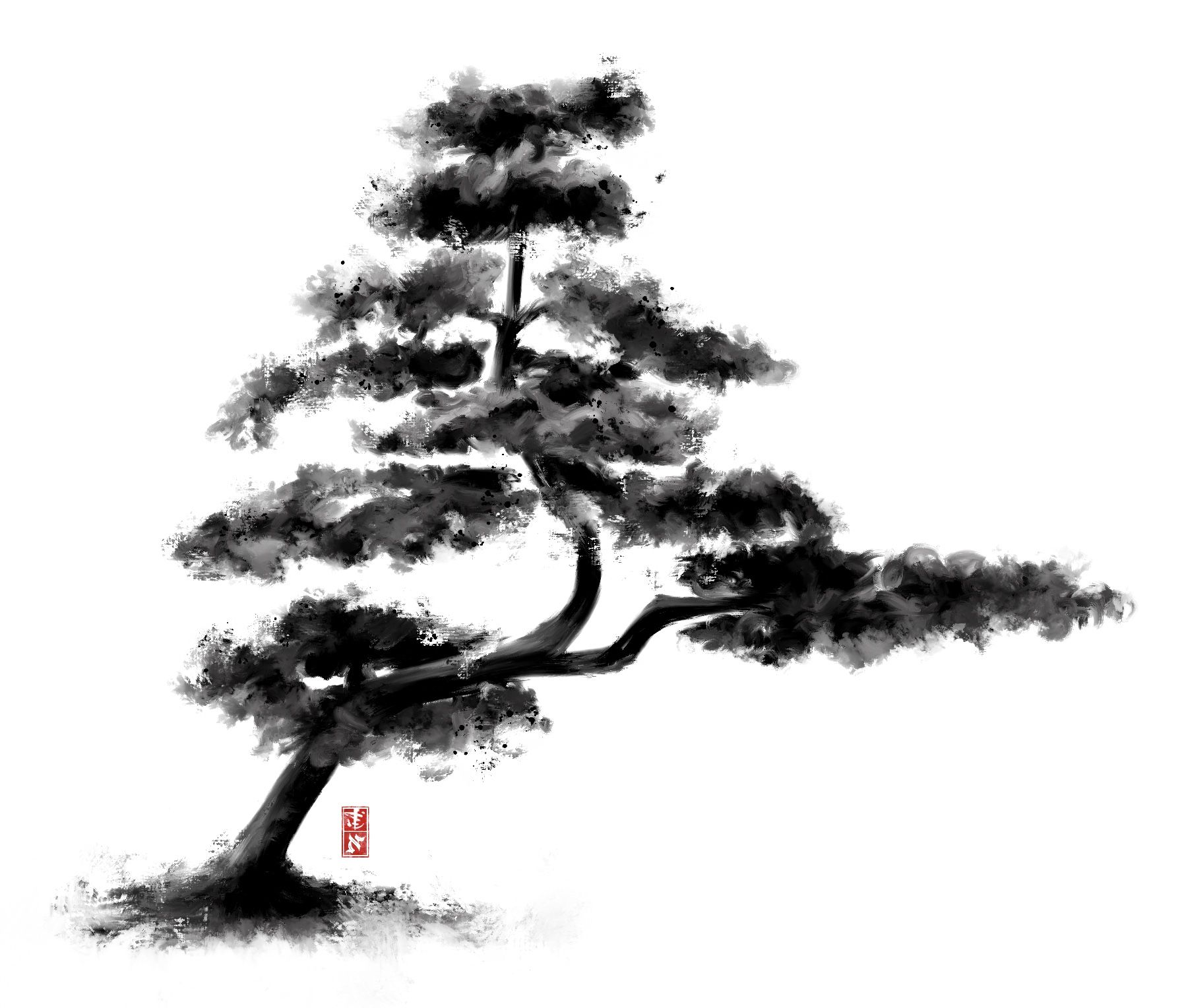 Sumi E Ink Wash Painting Of A Chinese Pine Tree Pine Tree